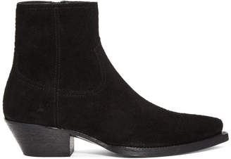 Saint Laurent Black Suede Lukas Boots