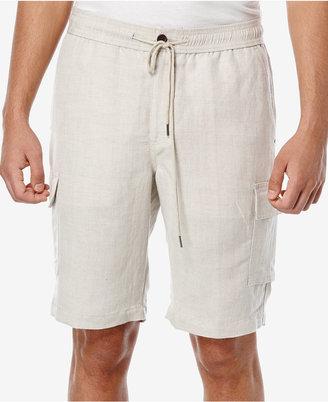 Cubavera Men's Linen Drawstring Full Elastic Cargo Shorts $68 thestylecure.com