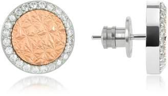 Rebecca R-Zero Gold Over Bronze Stud Earrings w/Stones