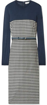 Max Mara Stretch-jersey And Gingham Wool-blend Dress - Navy