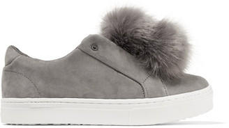 Sam Edelman - Leya Faux Fur-embellished Suede Slip-on Sneakers - Gray $100 thestylecure.com