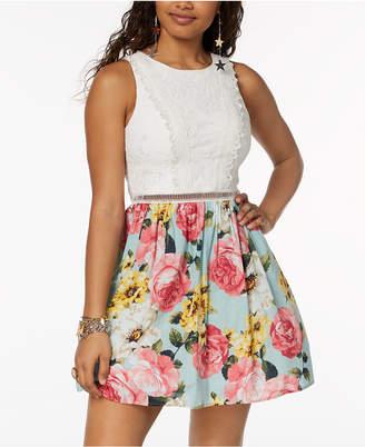 City Studios Juniors' Printed-Skirt Fit & Flare Dress