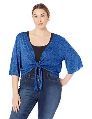 Star Vixen Women's Plus-Size Stretch Hacci Knit Tie-Front Shrug Sweater