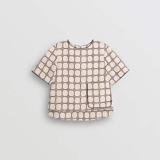 Burberry Piping Detail Flower Print Cotton Top