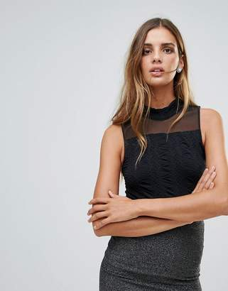 Y.a.s Cilla Textured Jersey With Mesh Evening Singlet Top