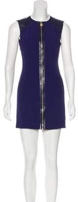 Versace Leather-Paneled Mini Dress