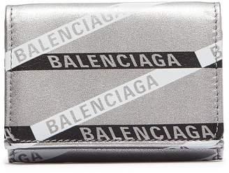 Balenciaga 'Monogram Everyday' logo print metallic leather mini wallet