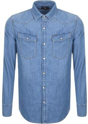 G Star Raw Long Sleeved 3301 Denim Shirt Blue