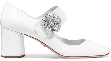 Prada - Embellished Patent-leather Mary Jane Pumps - White