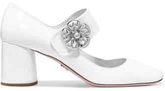 Prada - Embellished Patent-leather Mary Jane Pumps - White $780 thestylecure.com