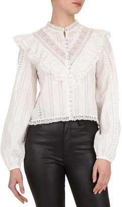 The Kooples Lace-Trimmed Balloon-Sleeve Cotton Top