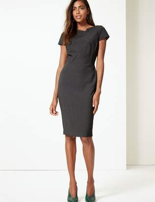 Marks and Spencer Textured Short Sleeve Bodycon Midi Dress