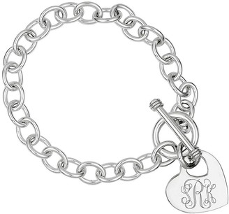 Sterling Personalized Cutout Heart Charm Link Bracelet