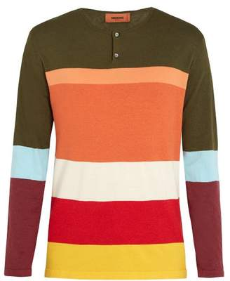 Missoni Henley Colour Block Long Sleeved T Shirt - Mens - Green Multi
