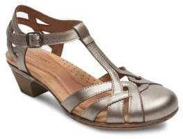 Rockport Cobb Hill Aubrey Leather T-Strap Sandals