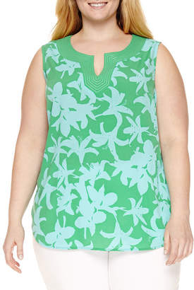 Liz Claiborne Sleeveless Split Crew Neck Top-Plus