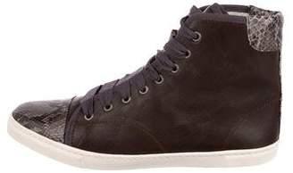 Lanvin Snakeskin-Trimmed High-Top Sneakers