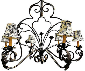 One Kings Lane Vintage Wrought Steel Chandelier - House of Charm Antiques