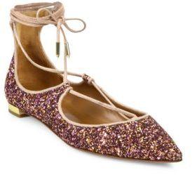 Aquazzura Christy Glitter Lace-Up Flats $675 thestylecure.com