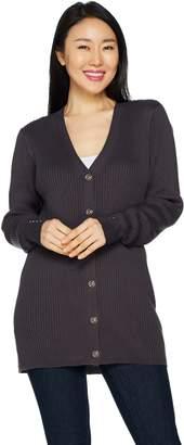Denim & Co. Long Sleeve Ribbed Cardigan w/ Cuff Stud Detail