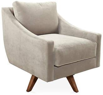 One Kings Lane Nash Swivel Club Chair - Smoke Velvet