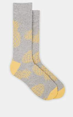 Corgi Men's Pineapple-Motif Stretch-Cotton Mid-Calf Socks