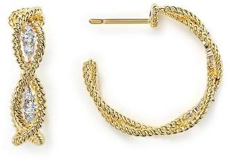 Roberto Coin 18K Yellow Gold New Barocco Braided Hoop Earrings with Diamonds