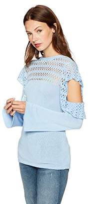 Cable Stitch Women's Pointelle Cold Shoulder Sweater