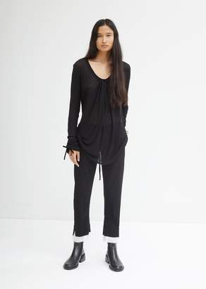 Ann Demeulemeester Cropped Trousers With Raw Edge Cuffs