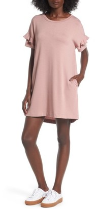 Women's Lush Ruffle Sleeve T-Shirt Dress $45 thestylecure.com