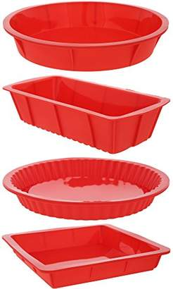 Juvale 4 Piece Bakeware Set - Baking Molds - Nonstick Silicone Bakeware Set with Round
