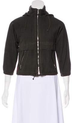 Prada Sport Hooded Plaid Jacket