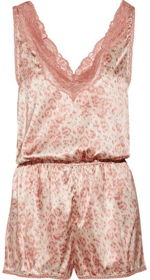 Poppy Snoozing Lace-trimmed Leopard-print Stretch-silk Satin Playsuit - Antique rose