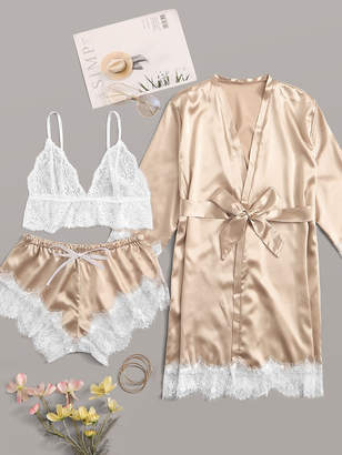 Shein Floral Lace Satin Lingerie Set With Robe