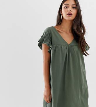 Asos DESIGN Petite mini reversible cotton slub smock dress