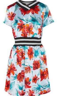 Suno Intarsia Knit-Trimmed Floral-Print Silk-Satin Dress