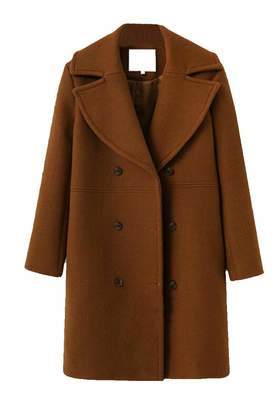96356d97d07 Suncolor8 Women Double Breasted Winter Thicken Mid Long Wool Blend Trench  Pea Coat XL