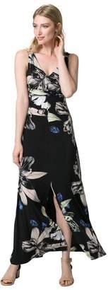 Le Château Women's Floral Print Knit Maxi Dress,M