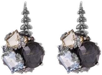 Stephen Dweck Silver Rutilated Quartz Cluster Earrings