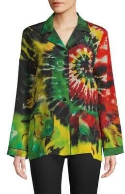 Valentino Tie-Dyed Silk Button-Down Shirt