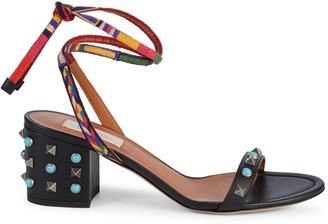 Valentino Studded Leather Block-Heel Slingback Sandals
