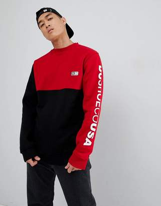 DC Cut & Sew Sweatshirt in Black and Red