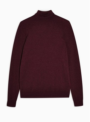 Topman Mens Red Burgundy Marl Turtle Neck Knitted Sweater