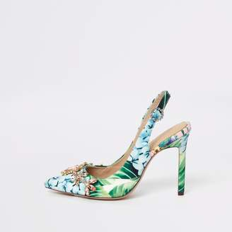 39cadd3ebf9 River Island Womens Green floral slingback court shoes