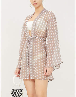 ALEXANDRA MIRO Betty flared-sleeve polka-dot crepe dress
