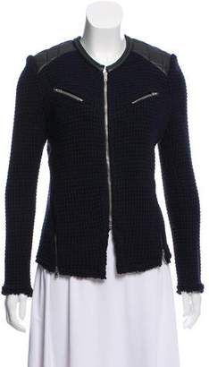 IRO Leather-Accent Knit Jacket