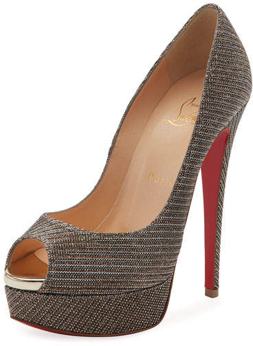 Christian Louboutin  Christian Louboutin Lady Peep Glitter Chain Red Sole Pump, Gray
