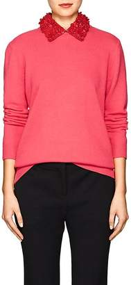 Valentino WOMEN'S LEATHER-COLLAR WOOL-CASHMERE SWEATER
