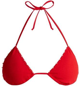 Marysia Swim St Tropez Triangle Bikini Top - Womens - Red White