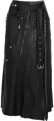 Alexander McQueen Zip-embellished Textured-leather Midi Skirt - Black